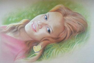 Настоящий портрет пастелью для любимой девушки в Барнауле, просто и со вкусом!