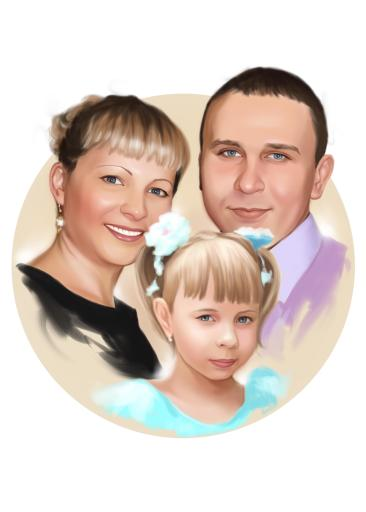 Семейный портрет по фото на холсте в Барнауле — правильный подарок!