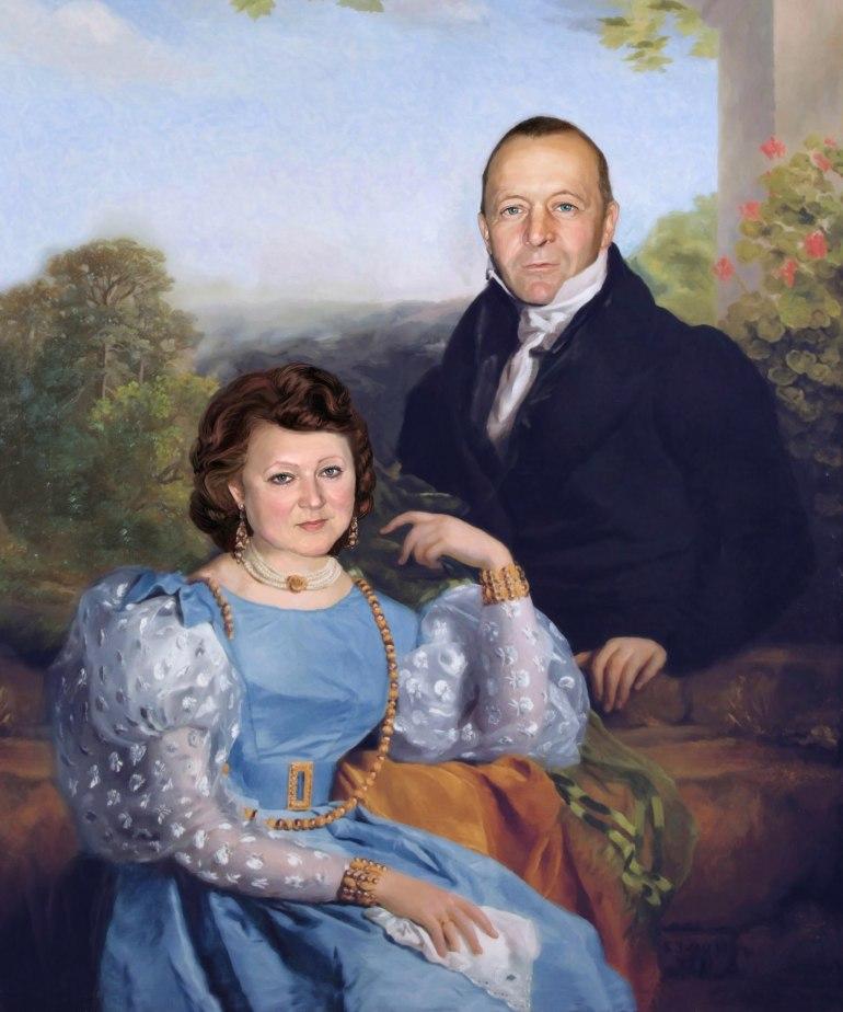 Семейный портрет по фото на холсте в Барнауле