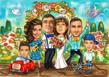Шарж по фото на годовщину свадьбы на заказ в Барнауле…